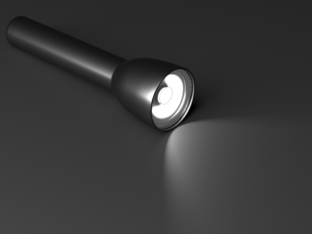 Included flashlight on a black background. Flashlight is on the table. 3d rendering Banco de Imagens
