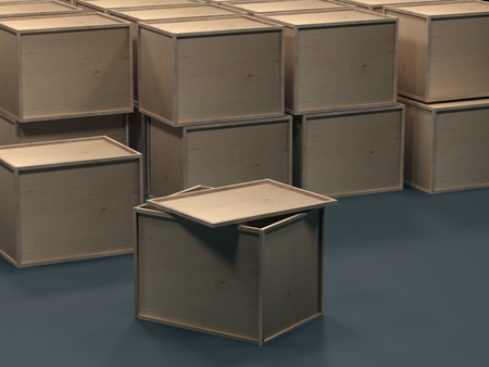Wooden boxes for packaging. Packaging for transportation. Warehouse with boxes. Warehouse with wooden boxes. 3d rendering. 스톡 콘텐츠
