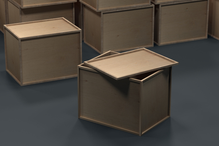 Plywood packaging. Wooden box Warehouse with boxes. Packing box on the floor. 3d rendering. Box illustration.
