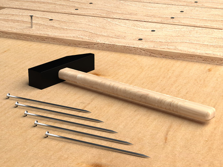 Hammer and nails. 3d rendering. Construction with nails. Nailing Boards with nails. Construction tool. Stockfoto
