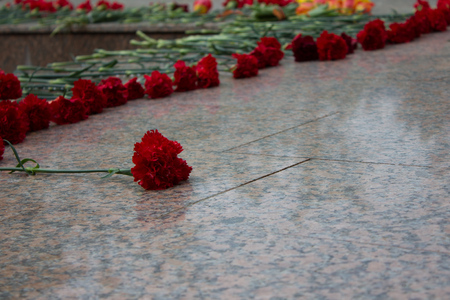 Carnation on granite. Flowers on the memorial. Laying flowers wreaths. Everlasting memory. We love we grieve. Tribute. The foot of the monument with flowers. Flowers at the foot. Fallen in battles.