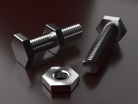 Bolt with nut. 3d rendering. products bolts. Thread on the bolt. Fastening elements. Greasy details. Locksmith work. Turning products  Reklamní fotografie