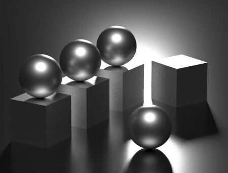 Geometric figures. 3d render. matte surfaces. computer graphics. gray surfaces. frosted balls. matte cubes. composition in gray Reklamní fotografie