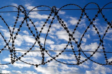 Barbed wire against the sky. Deprivation of liberty. court sentence. guarded area. Imprisonment. arrest of the criminal. detention. guarded territory. lose freedom Zdjęcie Seryjne