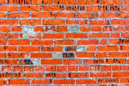 Background from an old brick wall. Old red brick masonry