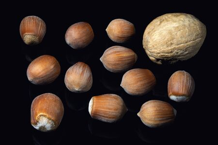 Hazelnuts and walnuts are scattered on a black background. Healthy eating Gifts of nature. Vitamins and healthy calories