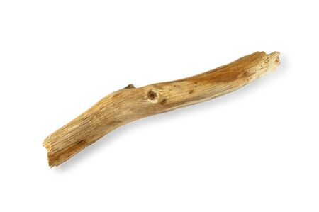 A piece of dry curved stick without bark on a white background. Wooden bitches on a white background