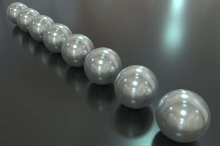 Pearl 3D rendering close-up. Pearl beads are arranged diagonally in a row on a mirrored surface.