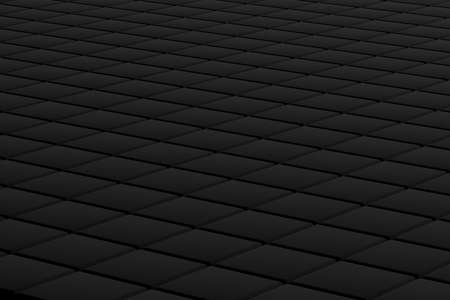 Dark gray background made of diagonal cubes. 3d render background from squares in a diagonal plane