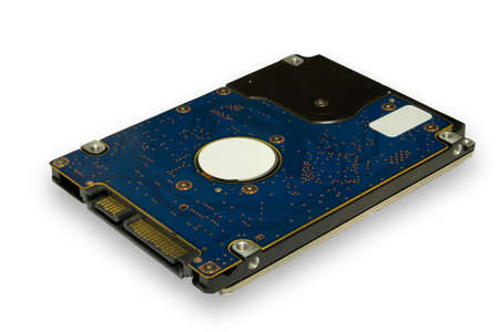 SATA hard drive located electronic board upwards isolate on white background close-up
