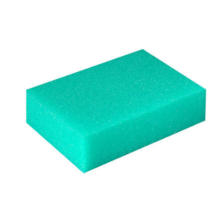 Green dishwashing sponge angled close-up on white background isolate