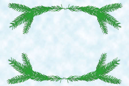 Template preparation of a New Year card. Illustration Christmas frame in soft colors. Spruce branches form a frame for text