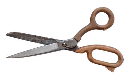shabby worn out old partner scissors look top isolate. old tailor's tool retro scratched with rust