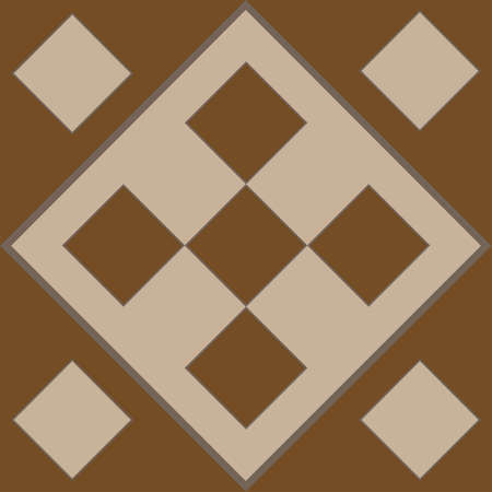 Brown pattern in the form of brown squares and rhombuses for tiles. Brown decorative square pattern for wall cladding
