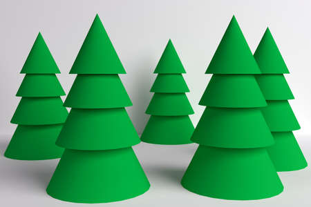 primitive illustration spruce forest from cones 3d rendering
