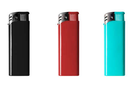 set of lighters red black and blue isolate on white background