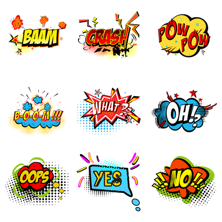 Pop art ilustration. Onomatopoeic expressions: crash, pow, boom, what, oh, oops, yes, no Vector cartoon explosions with different emotions isolated on white background 矢量图像