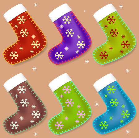 Christmas holiday image of stockings can be useful for decoration purposes: postcard, banners, posters, ads, etc. to add the holiday style. Stockfoto - 93158254
