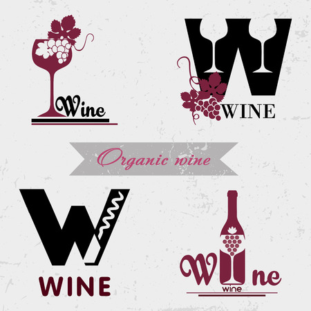 Set of badges and labels elements for wine. Quality logos in vector for wine industry. Can be used for companies which produce natural organic wine, to identify the brand graphics. Vettoriali