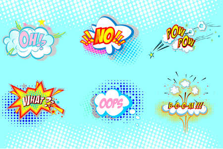 Collection of nine multicolored comic sound Effects. Onomatopoeic expressions: pow, boom, what, oh, oops, no Pop art ilustration Illustration