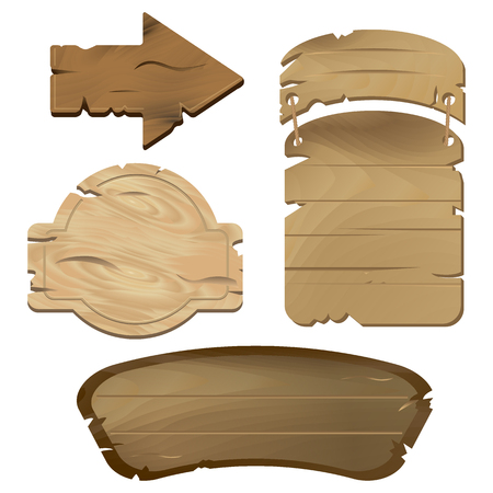 Empty Wooden boards in vector, perfect for various labels or text messages in rustic style. Old wooden texture is good for guide or signpost, can be used as a decoration or separate banner Illustration