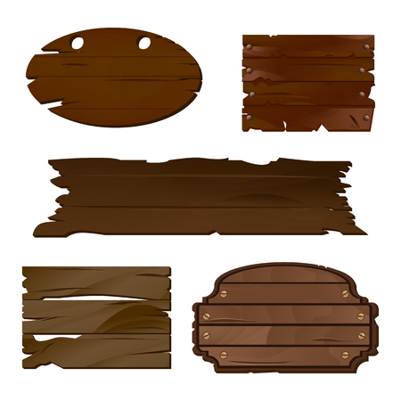Empty Wooden boards in vector, perfect for various labels or text messages in rustic style. Old wooden texture is good for guide or signpost, can be used as a decoration or separate banner Stock Photo