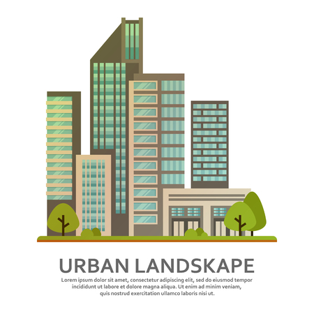 Urban landscape in vector. Modern city skyscrapers, business center, offices and houses. Çizim