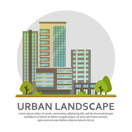 현대적인 도시 고층 빌딩, 비즈니스 센터, 사무실 및 주택. 스톡 콘텐츠