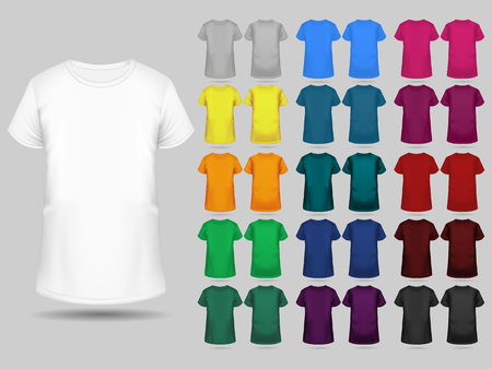 T-shirt templates collection of different colors for men and women, realistic gradient mesh vetor. Vetores