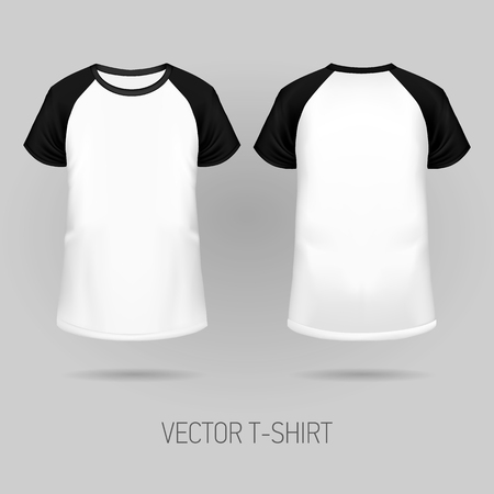 Raglan t-shirt with black short sleeve in front and back views, realistic gradient mesh vetor.