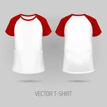 Raglan t-shirt with red short sleeve in front and back views, realistic gradient mesh vetor.