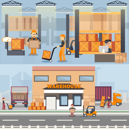 Warehouse building and shipping process in flat style vector illustration