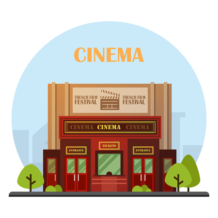 Cinema building vector illustration Иллюстрация