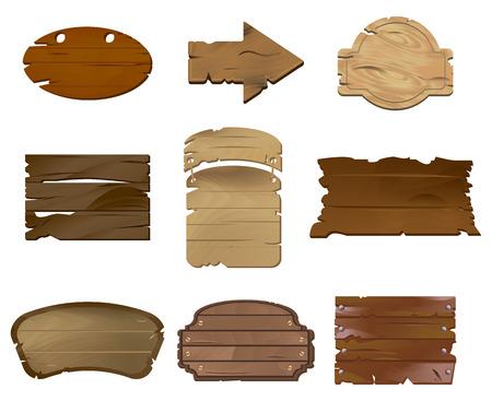 Empty Wooden boards vector illustration set