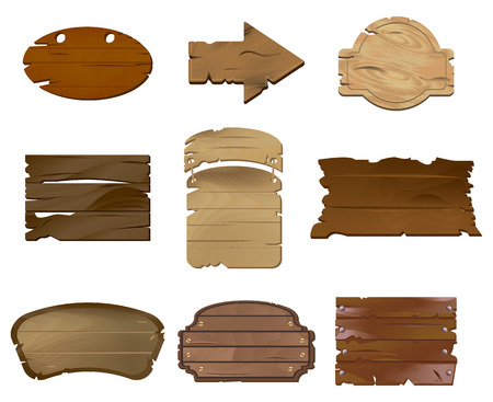 Empty Wooden boards vector illustration set