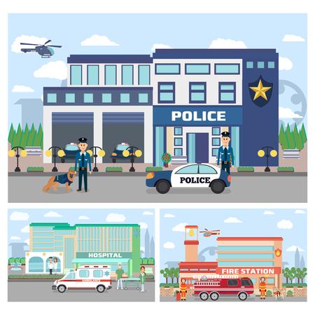 Satz des Notdienstgebäudes. Stadtkrankenhausgebäude mit Krankenwagen, Feuerwehrgebäude, Polizeidienststelle mit Offizieren in Uniform, Autos und Stadtlandschaft.