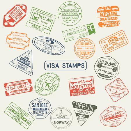 Set of isolated visa passport stamps of arriving to Ottawa, UAE, Switzerland, Japan, UK, Australia, USA China, Spain, Portugal, Italy, Australia, Germany Ireland France Norway Austria Greece