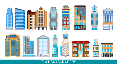 Modern skyscrapers set in flat style. Vector illustration for busines infographics. City design elements.