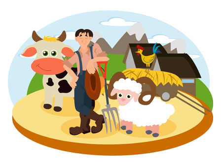 Farmer on the background of his farm with cow, sheep and cock. Village theme. Flat style vector illustration