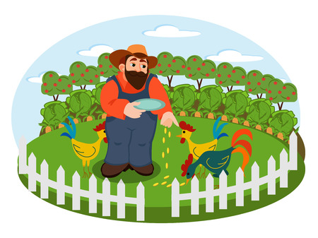 Farmer on the background of his farm with chicken and cock. Village theme. Flat style vector illustration Standard-Bild - 100295732