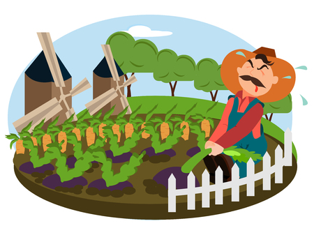 Farmer working on the field of his farm. Village theme. Flat style vector illustration