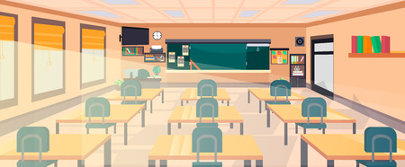 Vector klas interieur op de school, universiteit, instituut, college. Onderwijsconcept, schoolbord, bureaus, kantoorbenodigdheden. Trainingsruimte illustratie. Les voor lesgeven en leren. Vector Illustratie