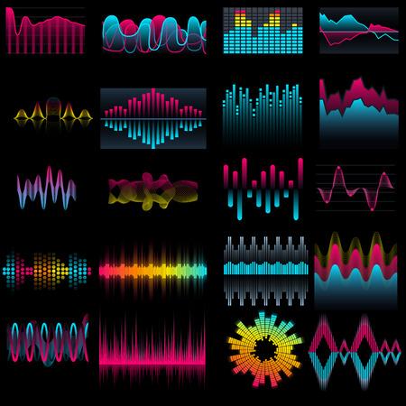 Set of music equalizer waves design template signal visualization illustration. Colorful light audio signal. 向量圖像
