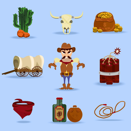 Wild west cowboy objects and design elements with dynamite, skull, flasks and cactus in cartoon isolated vector illustration