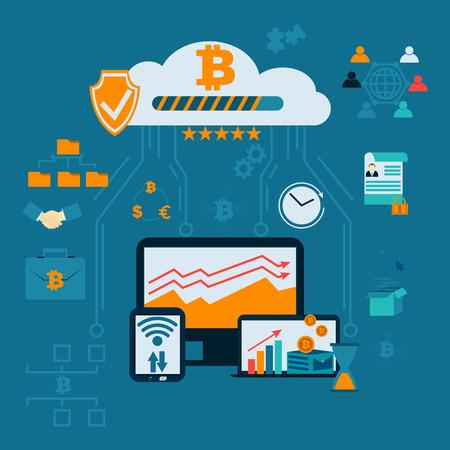 Infografía financiera moderna. Finca minera. Bitcoin cripto moneda rodeada de criptocoins o monedas digitales, con computadoras y gadgets.Ilustración de vector de estilo plano.
