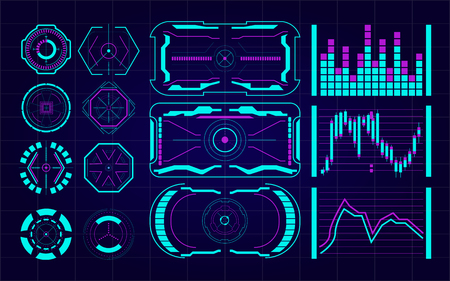 Set of Futuristic user interface Elements. HUD. hi-tech main. ui design hologram screens. Abstract technology background communication concept digital innovation background vector illustration Vectores
