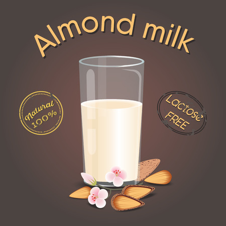 Glass of almond milk with nuts. Lactose free. Vegetarian product, flat design. Vector illustration