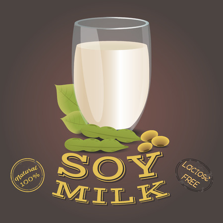 Glass of soy milk with beans. Lactose free. Vegetarian product, flat design. Vector illustration Illustration