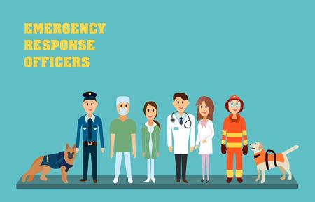 Ufficiali di pronto intervento: paramedico, infermiere, medico, vigile del fuoco e poliziotto. Soccorritori in illustrazione vettoriale piatta.