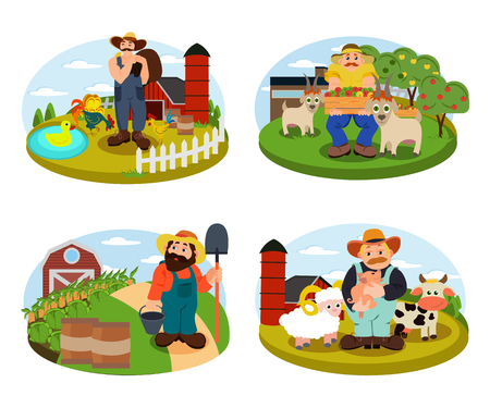 Set of Farmers on the background of his farm with cow, sheep and cock. Village theme. Flat style vector illustration Illustration